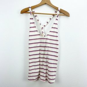 Free People White Stripe Twist Back Tank Top